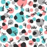 Abstract geometrisch naadloos patroon Herhaald met de hand getrokken cirkels en gekrabbel Stock Afbeeldingen
