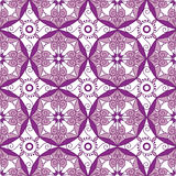 Abstract Geometrisch Naadloos Patroon met Bloemenornament in Purple en Rose Pink Color Stock Afbeeldingen