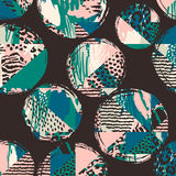 Abstract geometrisch naadloos patroon met dierlijke druk en cirkels Royalty-vrije Stock Fotografie