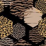 Abstract geometrisch naadloos patroon met dierlijke druk en zeshoeken Royalty-vrije Stock Afbeeldingen