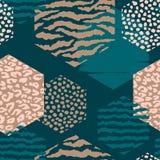 Abstract geometrisch naadloos patroon met dierlijke druk en zeshoeken Royalty-vrije Stock Fotografie