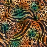 Abstract geometrisch naadloos patroon met dierlijke druk In hand getrokken texturen Royalty-vrije Illustratie