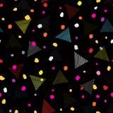 Abstract geometrisch naadloos patroon met punten en driehoeken Sierwit Stock Fotografie