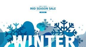 Abstract geometrisch ontwerp voor de winter De banner van de Kerstmisaanbieding met vector vloeibaar vorm en decor van sneeuwvlok royalty-vrije illustratie