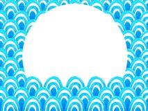 Abstract geometrisch patroon met blauwe waterverfgolf Overzeese achtergrond royalty-vrije illustratie