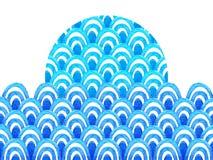 Abstract geometrisch patroon met blauwe waterverfgolf Overzeese achtergrond vector illustratie