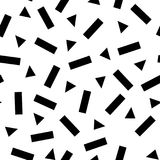Abstract geometrisch patroon met zwarte primitieve silhouetten op wit Stock Foto's