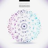 Abstract geometrisch rooster, het werkingsgebied van molecules Royalty-vrije Stock Afbeeldingen