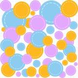 Abstract geometrisch vector naadloos patroon met multicolored cirkelstukjes op een voorbeeldenboekdocument Stock Foto's
