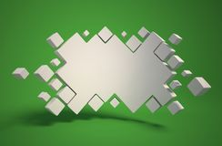 Abstract geometry as 3d background. Isolated illustration on green Royalty Free Stock Photos