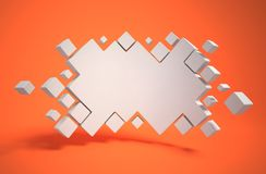 Abstract geometry as 3d background. Isolated illustration on orange Stock Photo