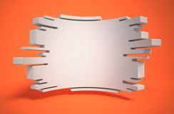 Abstract geometry as 3d background. Isolated illustration on orange Stock Photos