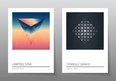 Abstract geometry backgrounds set. A4 format, templates. Applicable for covers, placards, posters, flyers and banner designs vector illustration