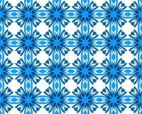Abstract geometry  blue cornflower blooms seamless pattern. Abstract geometry cornflower blooms seamless pattern. Blue flowers isolated on white background Stock Photography