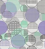 Abstract geometry from contoured circles with holes. In green, black, gray. A seamless pattern on a light gray background Royalty Free Stock Image