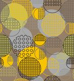 Abstract geometry from contoured circles with holes. In yellow black, gray. A seamless pattern on a beige background Royalty Free Stock Image