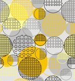 Abstract geometry from contoured circles with holes. In yellow, black, gray. A seamless pattern on a light gray background Stock Images