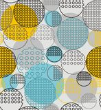 Abstract geometry from contoured circles with holes. In yellow, black, gray. A seamless pattern on a light gray background Royalty Free Stock Image