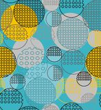 Abstract geometry from contoured circles with holes. In yellow, blue, black, gray. A seamless pattern on a light blue background Stock Image