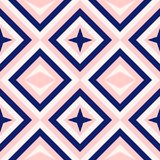 Abstract geometry in navy blue and blush pink, diamond shapes and stars fashion pattern. Diamond shapes pattern. Abstract geometry in navy blue and blush pink Royalty Free Stock Photography