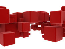 Abstract geometry red cubes Royalty Free Stock Photos