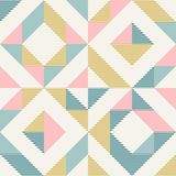 Abstract geometry in retro colors, diamond shapes geo pattern. Abstract geometric diamond shapes geo print. Seamless vector pattern. Mint, blush pink, mustard stock illustration