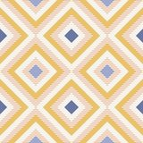 Abstract geometry in retro colors, diamond shapes geo pattern. Seamless vector pattern. Navy blue, mustard yellow and coral pink background. Fashion fabric royalty free illustration