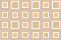 Abstract geometry in retro colors, geometric shapes geo pattern. Seamless vector pattern. Mustard yellow and coral pink background. Fashion fabric pattern vector illustration