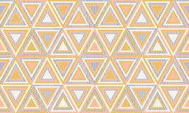 Abstract geometry in retro colors, geometric shapes geo pattern. Seamless vector pattern. Mustard yellow and coral pink background. Fashion fabric pattern stock illustration