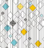 Abstract geometry from squares and lines. In black, blue, yellow and gray. A seamless pattern on a white background Stock Images