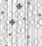Abstract geometry from squares and lines. In black and gray. A seamless pattern on a white background Royalty Free Stock Photo