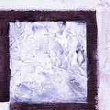 Abstract geruit die patroon met acryl of olieverven op canvas in bruine, donkere purpere en blauwe kleuren wordt geschilderd Royalty-vrije Stock Afbeelding