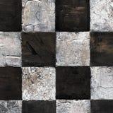 Abstract geruit die patroon met acryl of olieverven op canvas in bruine en beige kleuren wordt geschilderd Royalty-vrije Stock Afbeelding