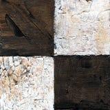 Abstract geruit die patroon met acryl of olieverven op canvas in bruine en beige kleuren wordt geschilderd Royalty-vrije Stock Foto's