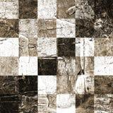 Abstract geruit die patroon met acryl of olieverven op canvas in bruine en beige kleuren wordt geschilderd Royalty-vrije Stock Fotografie