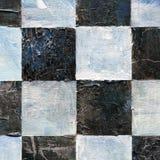Abstract geruit die patroon met acryl of olieverven op canvas in zwart-witte kleuren wordt geschilderd Royalty-vrije Stock Afbeelding