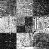 Abstract geruit die patroon met acryl of olieverven op canvas in zwart-witte kleuren wordt geschilderd Royalty-vrije Stock Foto's