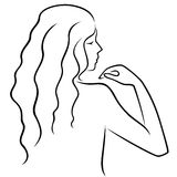 Abstract gesticulating female with view from the back. Abstract hand gesticulating women with long locks, view from the back, hand drawing vector outline royalty free illustration