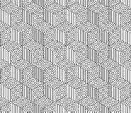 Abstract gestreept 3d kubussen geometrisch naadloos patroon in zwart-wit, vector Stock Fotografie