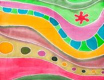 Abstract gestreept geometrisch patroon op zijdebatik Royalty-vrije Stock Afbeelding