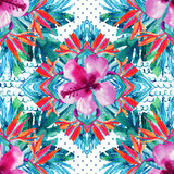 Abstract geweven geometrisch en bloemen naadloos patroon Royalty-vrije Stock Foto's