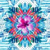 Abstract geweven geometrisch en bloemen naadloos patroon Stock Afbeelding