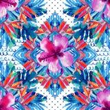 Abstract geweven geometrisch en bloemen naadloos patroon Stock Afbeeldingen