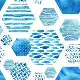 Abstract geweven hexagon vormen naadloos patroon Stock Foto
