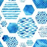 Abstract geweven hexagon vormen naadloos patroon Stock Foto's