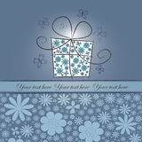 Abstract gift with blue flowers Royalty Free Stock Images