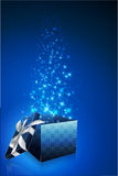 Abstract gift card with open box Stock Image