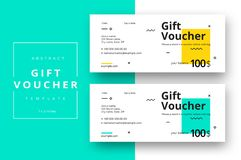 Abstract gift voucher card template. Modern discount coupon or c. Ertificate layout with geometric shape pattern. Vector fashion bright background design with stock illustration
