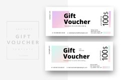 Abstract gift voucher card template. Modern discount coupon or c. Ertificate layout with geometric shape pattern. Vector fashion bright background design with vector illustration