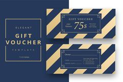 Abstract gift voucher card template. Modern discount coupon or c Stock Image